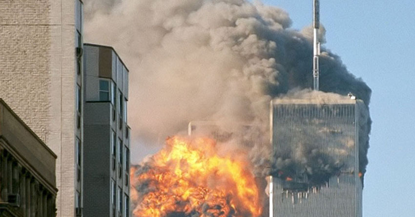 United Airlines Flight 175 crashes into the south tower of the World Trade Center complex in New York City during the September 11 attacks
